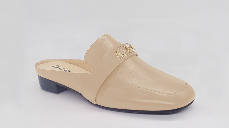 ΔΣΘ Beige Genuine Leather Flats with gold embedded buckle