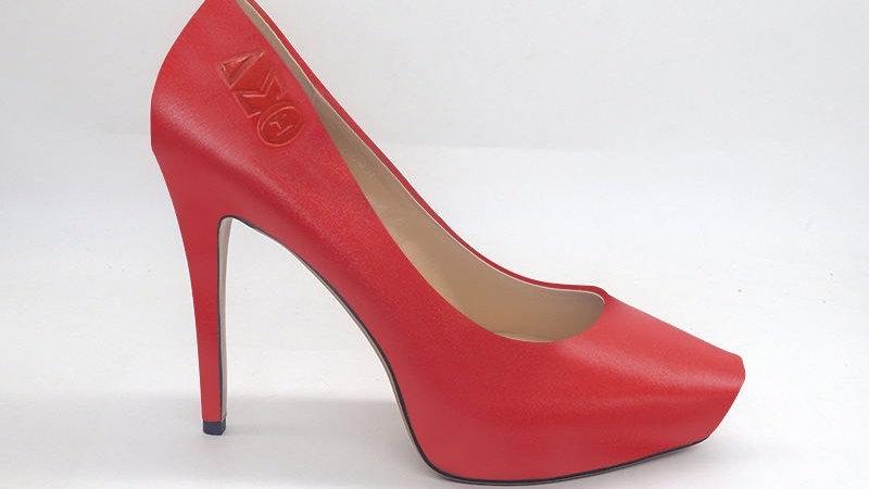 ΔΣΘ Red Genuine Leather Debossed Platform 4in Heel