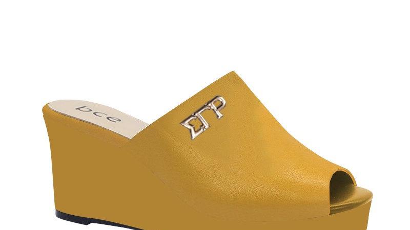 ΣΓΡ Yellow Genuine Leather Wedges with gold embedde buckle