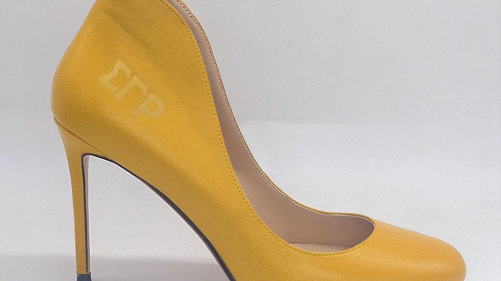 ΣΓΡ  Yellow Genuine Leather debossed heels