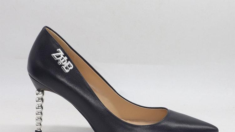 ΖΦB Black Genuine leather heels with silver buckle