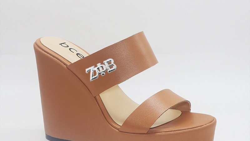 ΖΦB  Cappuccino  Genuine Leather Wedges silver buckle