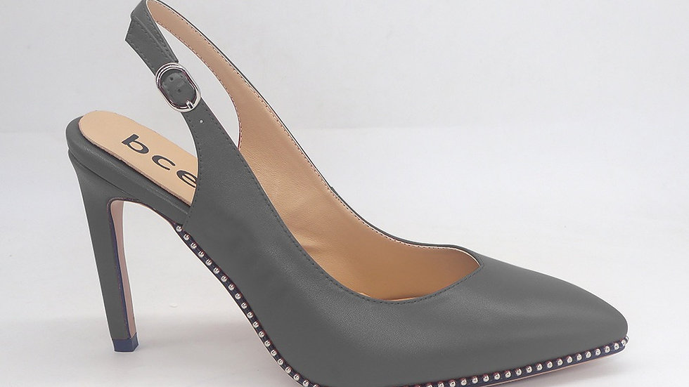 Dark Gray Slingback Genuine Leather Heels with gold buckle