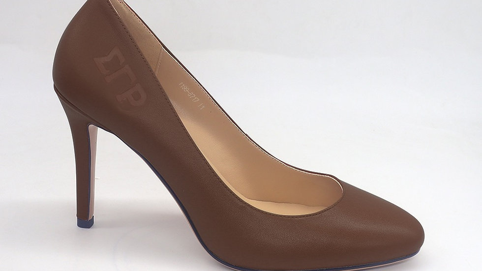ΣΓΡ Mocha Genuine Leather Round Toe Debossed heels