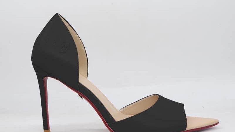 ΔΣΘ Black Genuine Leather Heels