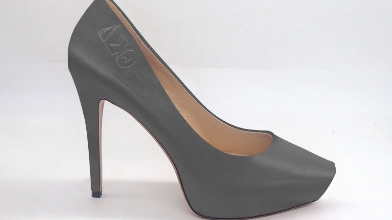 ΔΣΘ Dark Gray Genuine Leather Platform Heels