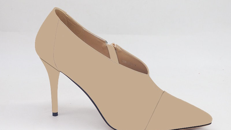 Cappuccino Genuine Leather and Faux Snake Skin Heels