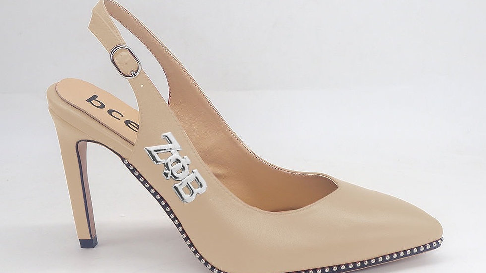 ΖΦΒ Beige Genuine Leather Slingback heels with silver buckle