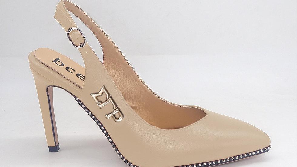 ΣΓΡ Beige Slingback Genuine Leather Heels with gold buckle