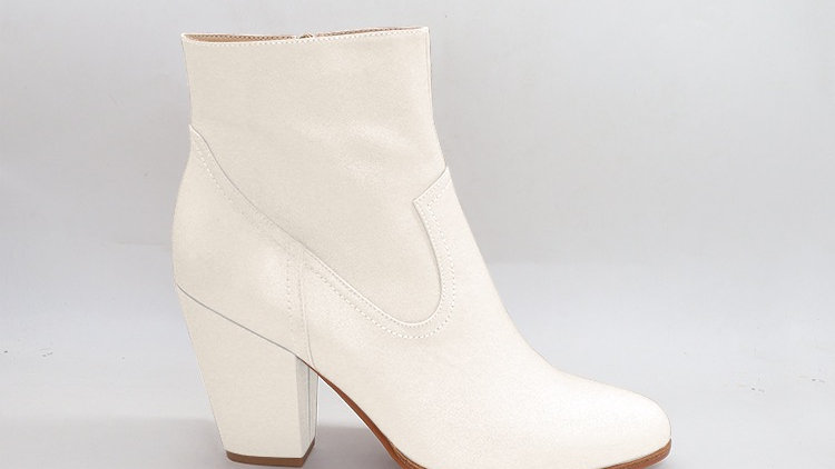Cream Genuine Leather Boots