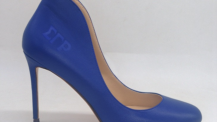 ΣΓΡ  Blue Genuine Leather debossed heels