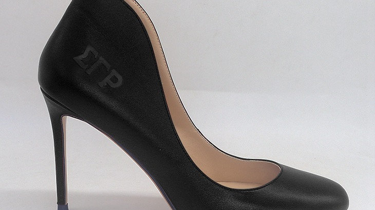 ΣΓΡ  Black Genuine Leather heels
