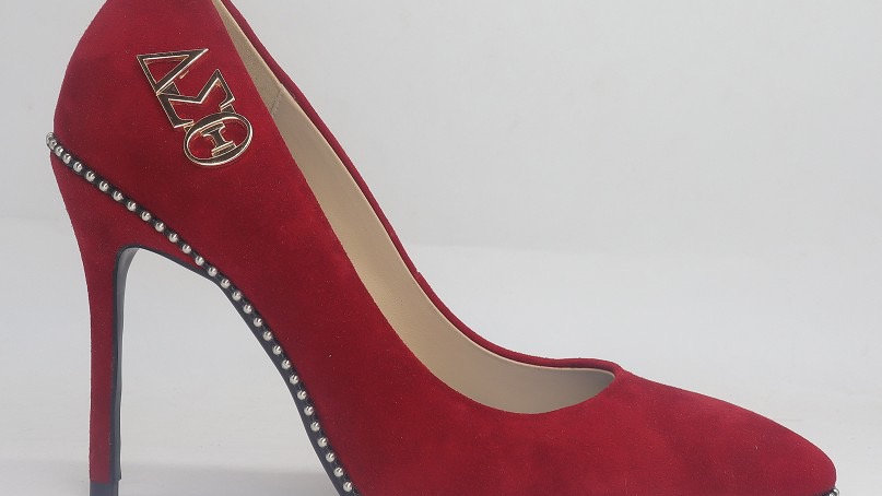 Red Genuine Suede Leather Heels with Silver Buckle