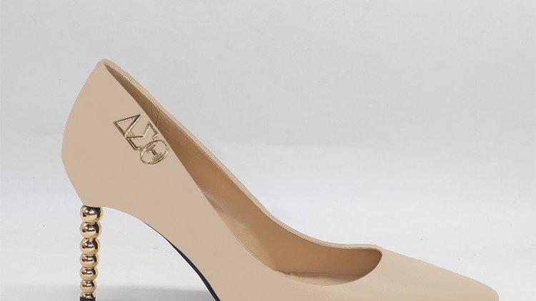 ΔΣΘ Beige Genuine leather heels with gold  buckle