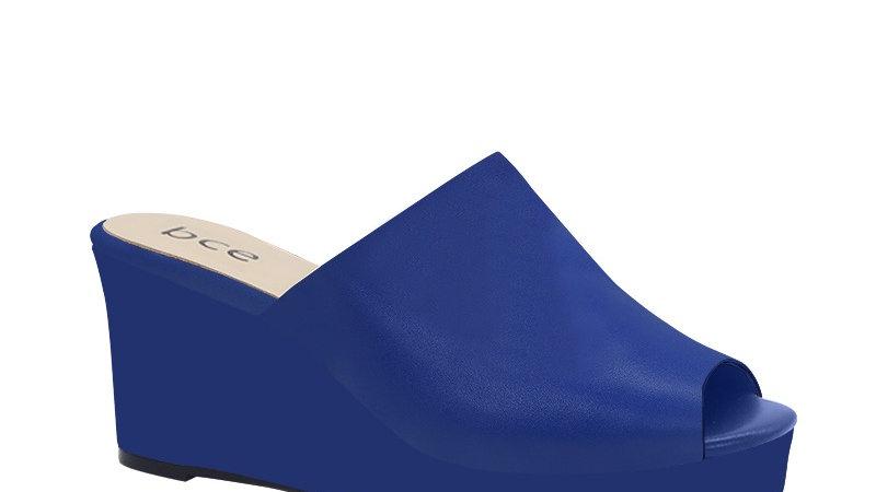 Blue Genuine Leather Wedges