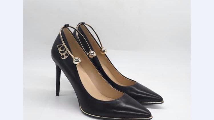 ΔΣΘ Black Genuine Leather 4in heels  with gold ankle bracelet