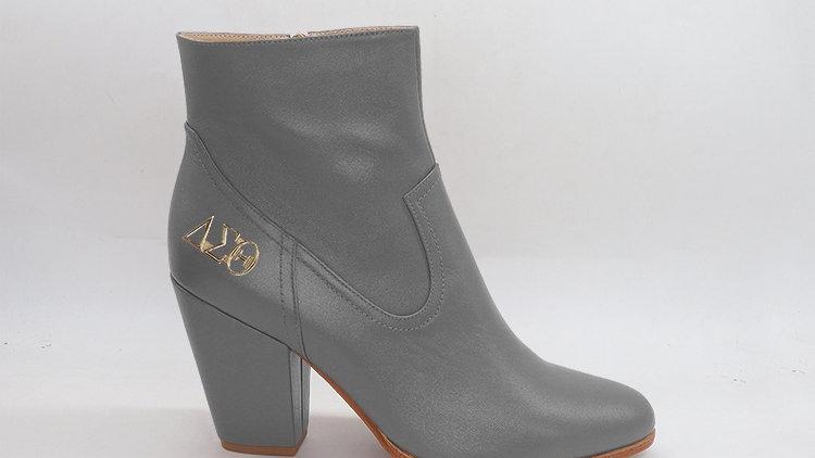 ΔΣΘ Gray Genuine Leather Boots with gold buckle