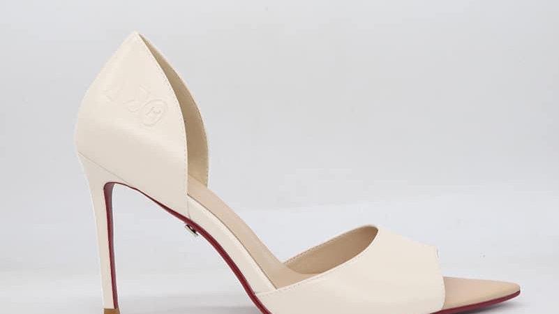 ΔΣΘ Cream Genuine Leather Heels