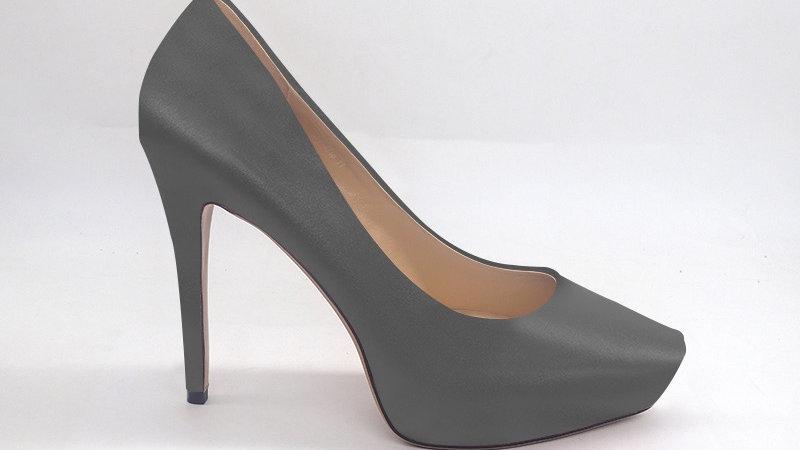 Gray Genuine Leather Platform 4in Heel