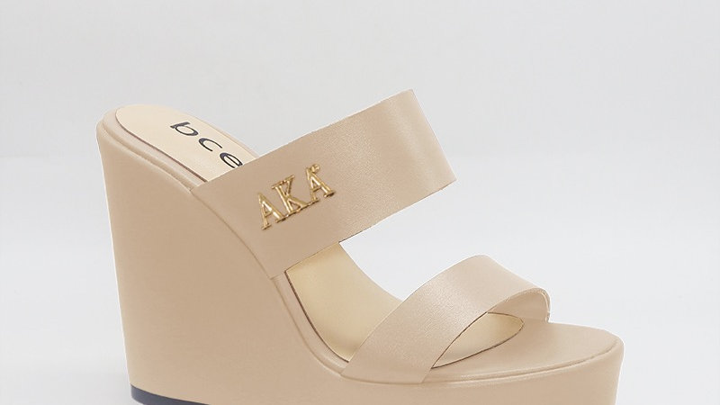 AKA Beige Genuine Leather Wedges with gold embedded buckle