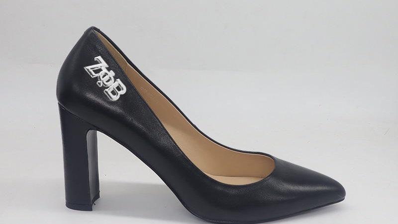 ΖΦΒ Black Genuine Leather Block 4in heels with silver buckle