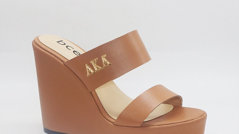 AKA Cappuccino Genuine Leather Wedges with gold embedded buckle
