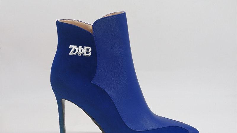 ΖΦΒ Blue Genuine Leather/Suede 4in heels w/ silver  buckle