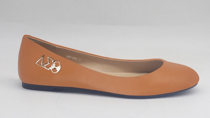 Cappuccino Genuine Leather Flats with Gold ΔΣΘ buckle