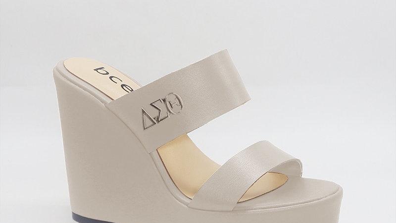 ΔΣΘ Light Gray Genuine Leather Wedges with gold buckle