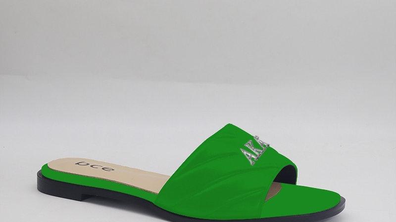 AKA Green Genuine Leather Sandals