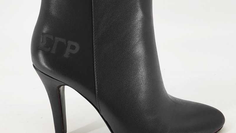 ΣΓΡ  Black Genuine Leather Debossed Boots
