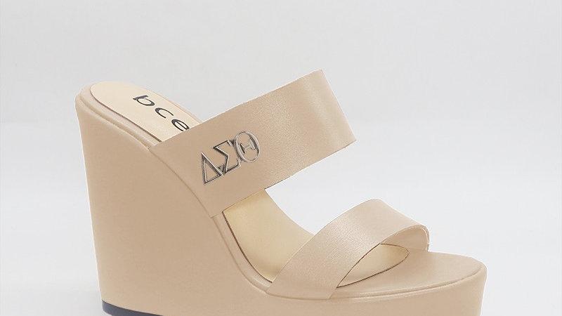 ΔΣΘ Beige Genuine Leather Wedges with gold embedded buckle