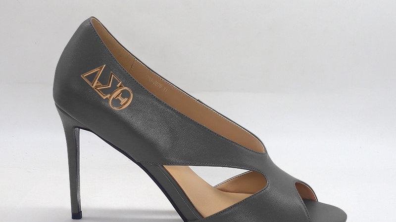 ΔΣΘ Gray Genuine Leather 4in heels