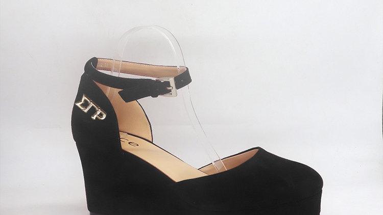 ΣΓΡ Black Suede Wedges with gold buckle