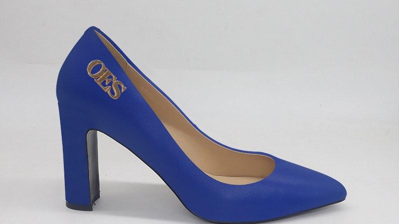 OES Blue Genuine Leather block heels