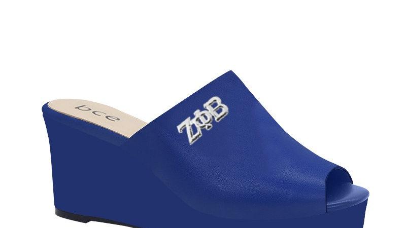 ΖΦΒ  Blue Genuine Leather Wedges with silver embedde buckle