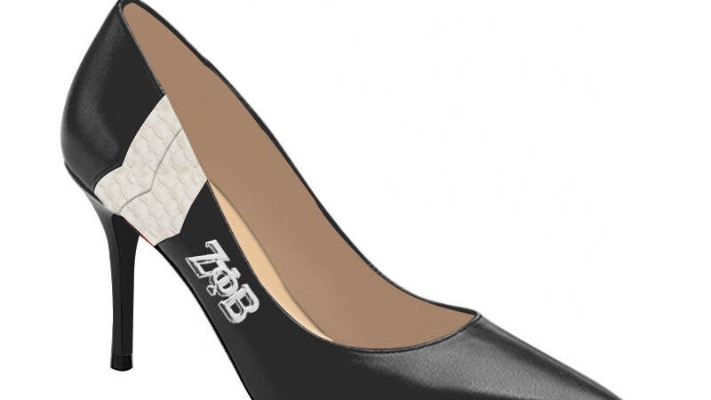 ΖΦΒ Black Genuine Leather/Faux Snake skin heels