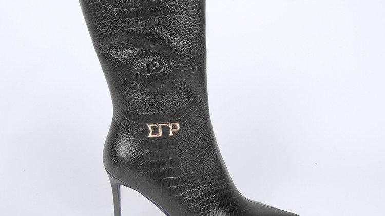ΣΓΡ Black  Genuine Leather Boots Ships December 20th