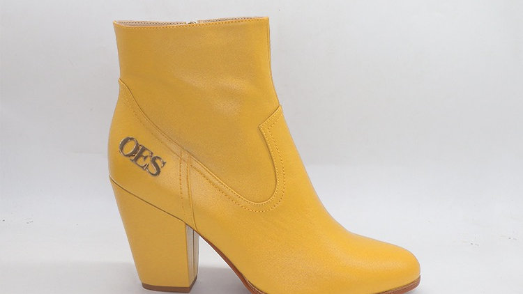 OES Yellow Genuine Leather Boots with gold  buckle