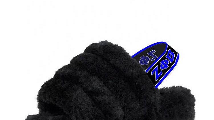 ΖΦΒ Black  Genuine Sheep Wool Slippers  SHIPS IN 45 DAYS