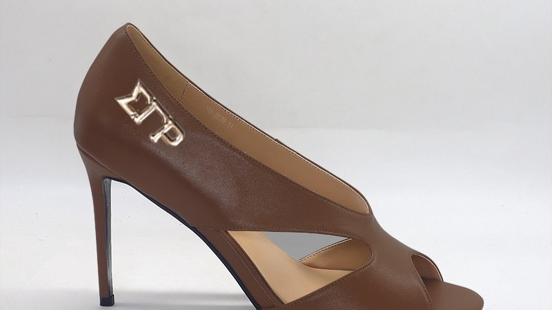 ΣΓΡ Mocha Genuine Leather 4in heels with gold embedded buckle