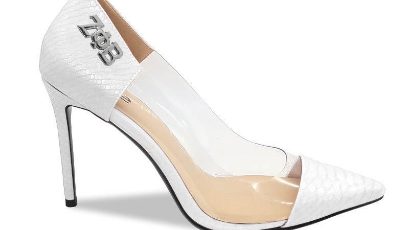 White Faux Snake Skin Heels with silver buckle