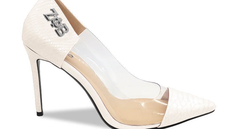 ΖΦΒ Cream Faux Snake Skin Heels with silver buckle