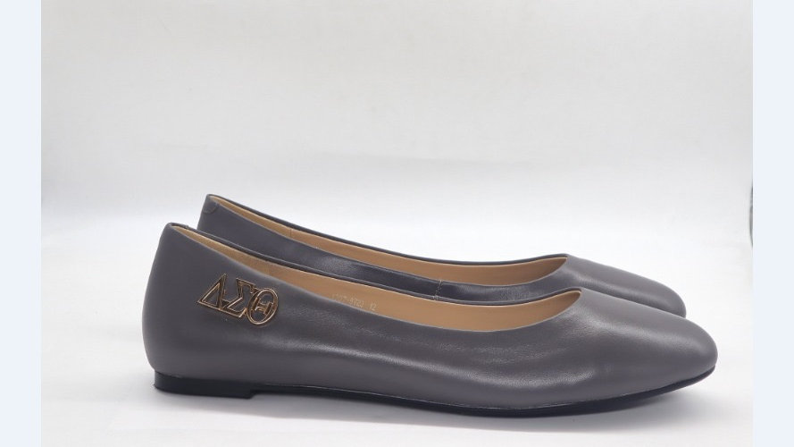 Dark Gray Genuine Leather Flats with Gold ΔΣΘ buckle