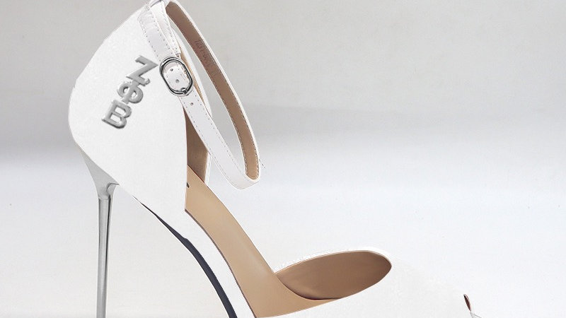 ΖΦΒ White Genuine Leather 5in heels with silver buckle