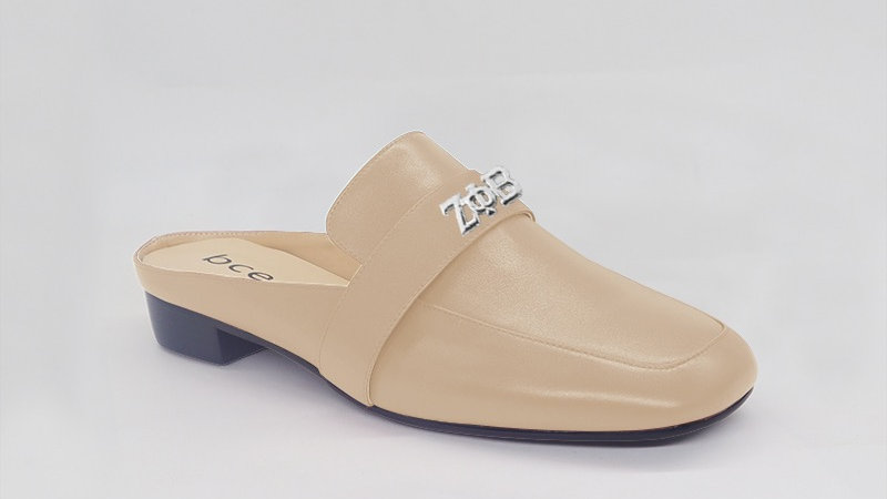 ΖΦΒ Beige Genuine Leather Flats with silver embedded buckle