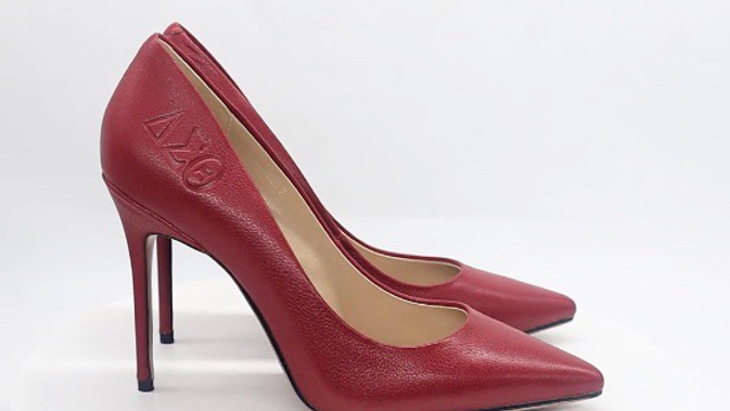 Red ΔΣΘ Debossed Genuine Flat Grain Leather Heel