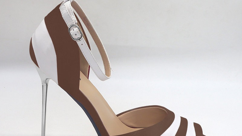 Mocha/White Genuine Leather 5in heels
