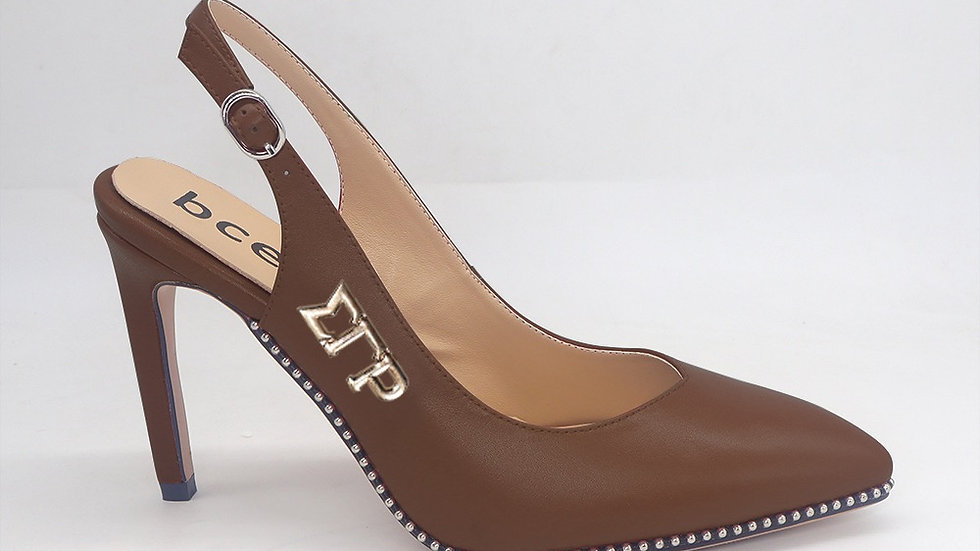 ΣΓΡ Mocha Slingback Genuine Leather Heels with gold buckle