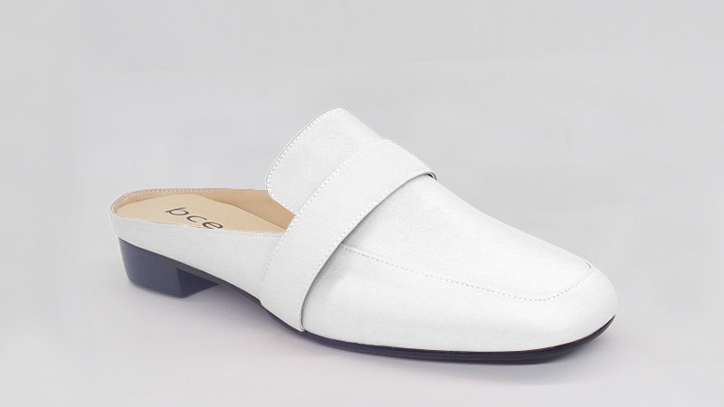White Genuine Leather Flats